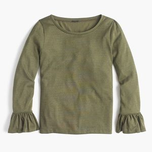 J. Crew Sparkle Bell Sleeve Top in Olive